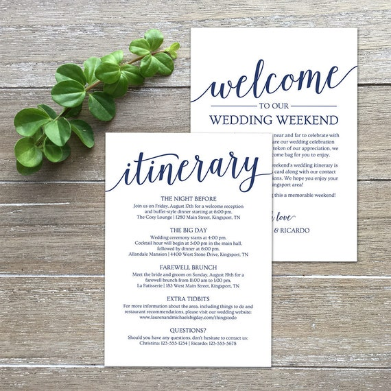 Wedding itinerary navy welcome letter template printable etsy image 0 reheart Image collections