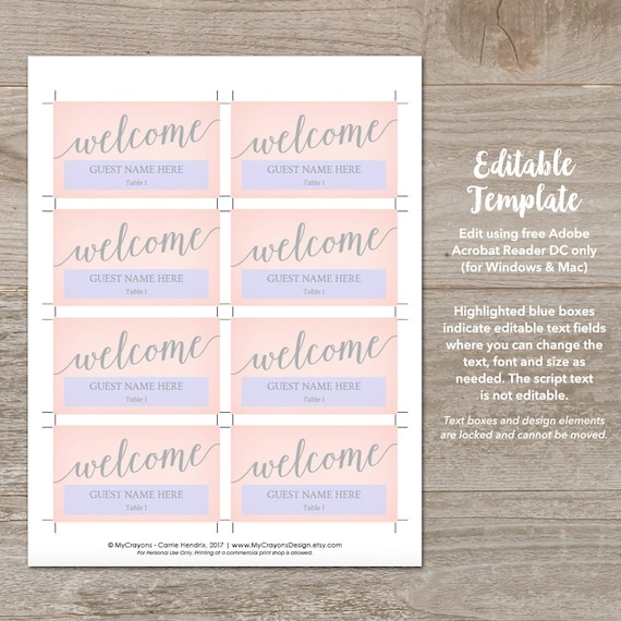 Blush Gray Wedding Place Cards Template Wedding Name Cards Printable Blush Place Cards Wedding