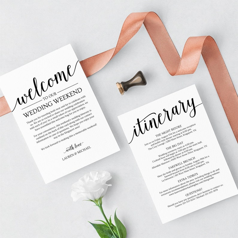 Wedding Welcome Letter Template with Itinerary Wedding image 0