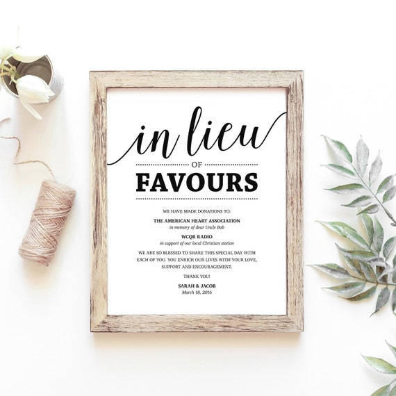 In Lieu Of Favours Sign Printable Black Printable Wedding Etsy