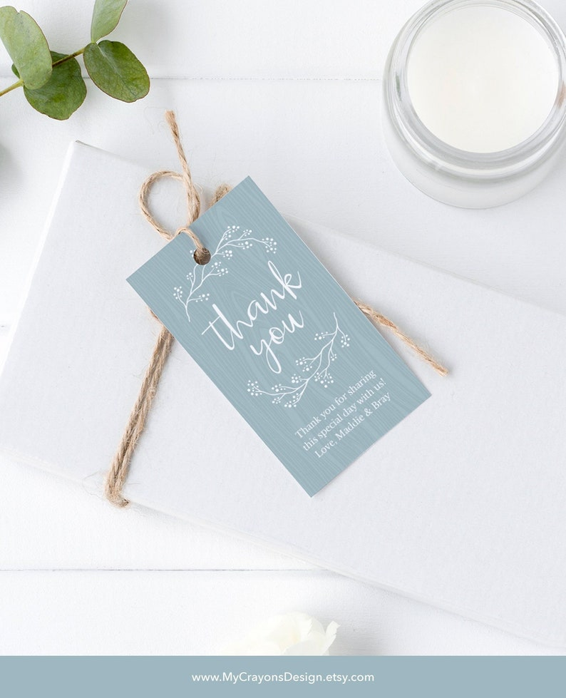 Rustic Thank You Tags Gift Tag Template Dusty Blue Wedding image 0