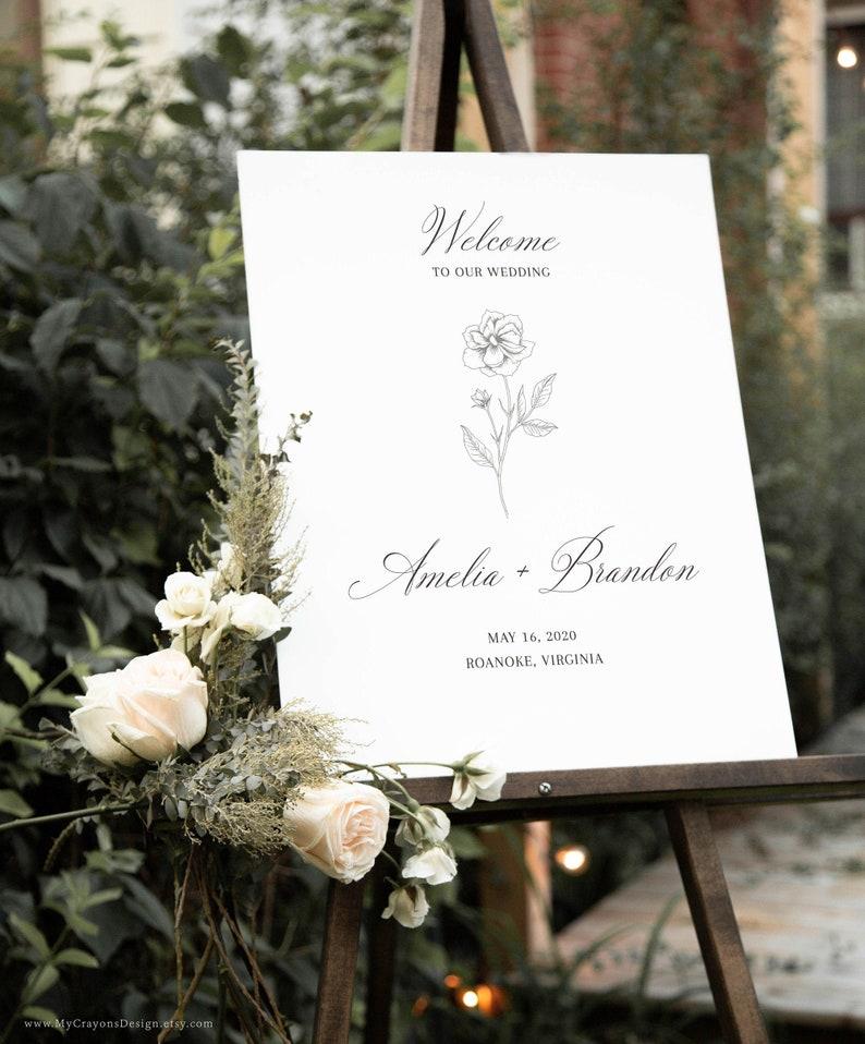 Minimalist Wedding Welcome Sign Template Fine Art Wedding image 0