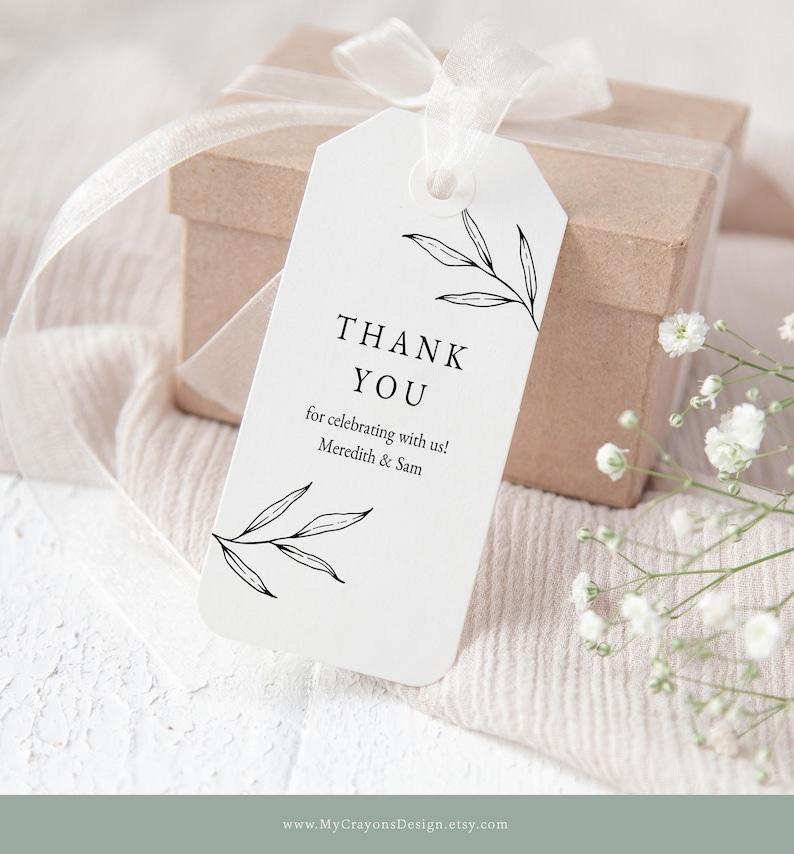 Botanical Thank You Tags Wedding Favor Tags Editable Gift image 0