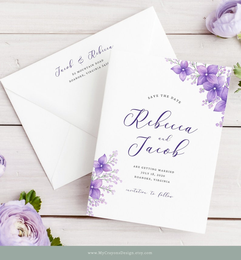 Floral Save the Date Template with Photo Purple Wedding image 0