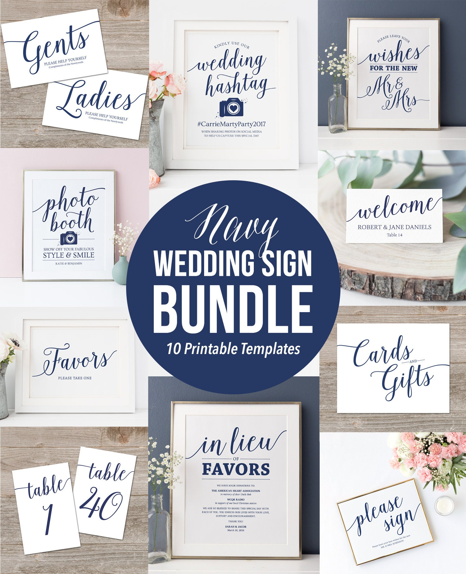 C14 Custom Wedding Sign Template Templett Printable Wedding Signs Floral DIY Wedding Sign Editable Navy And Gold Personalized Sign