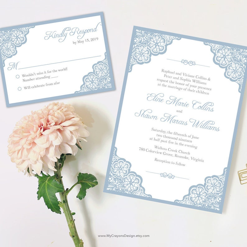 Light Blue Wedding Invitations Printable Lace Invitation Template Invites Classic