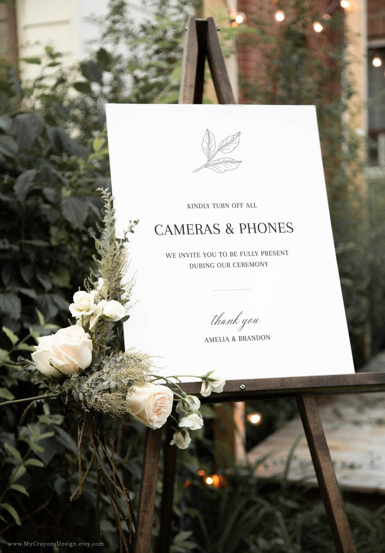 Unplugged Ceremony Sign No Phones Ceremony Sign No Photos image 0