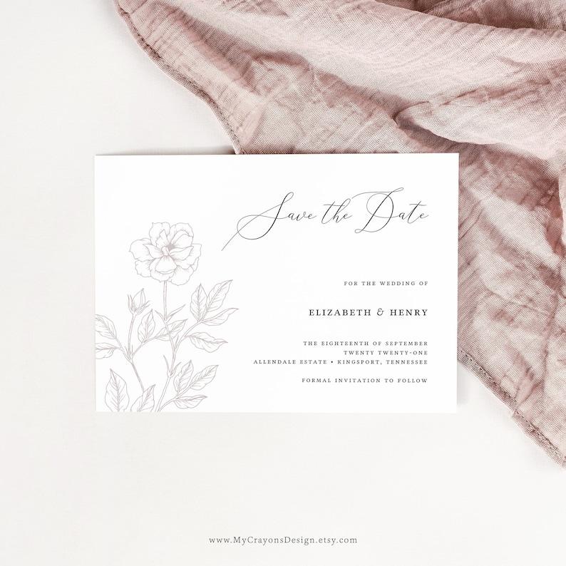Mauve Save the Date Template Save the Date Card Fine Art Elegant Wedding Invitations