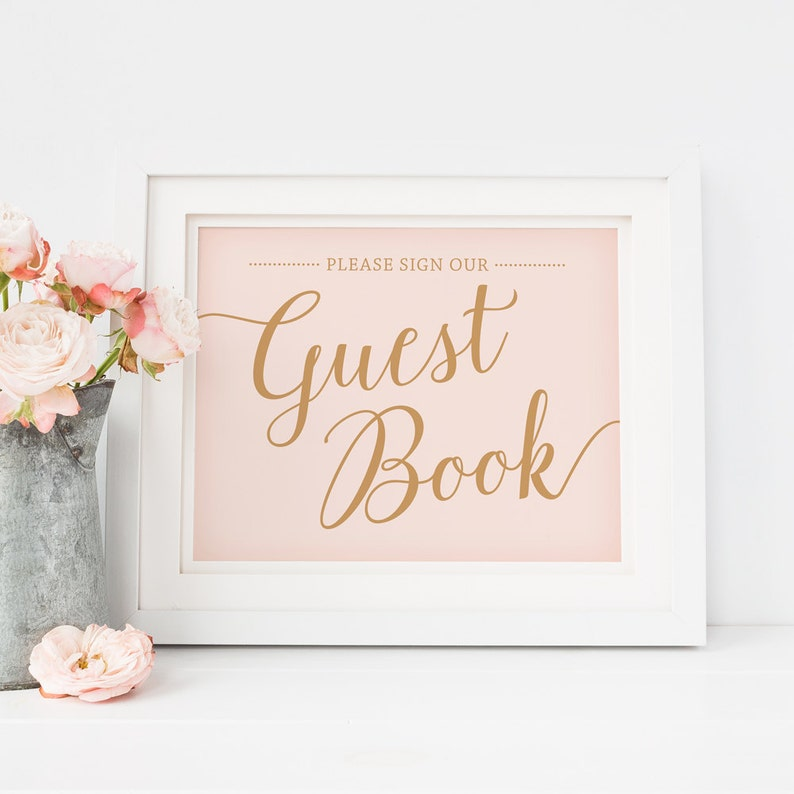 35334dcb10aed Please Sign Our Guest Book Sign, Printable Wedding Guestbook Sign, Pink  Wedding Signs, Instant Download