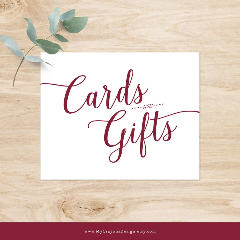 Gift Table Sign Wedding Cards Sign Burgundy Burgundy Wedding Signs Printable Cards and Gifts Sign