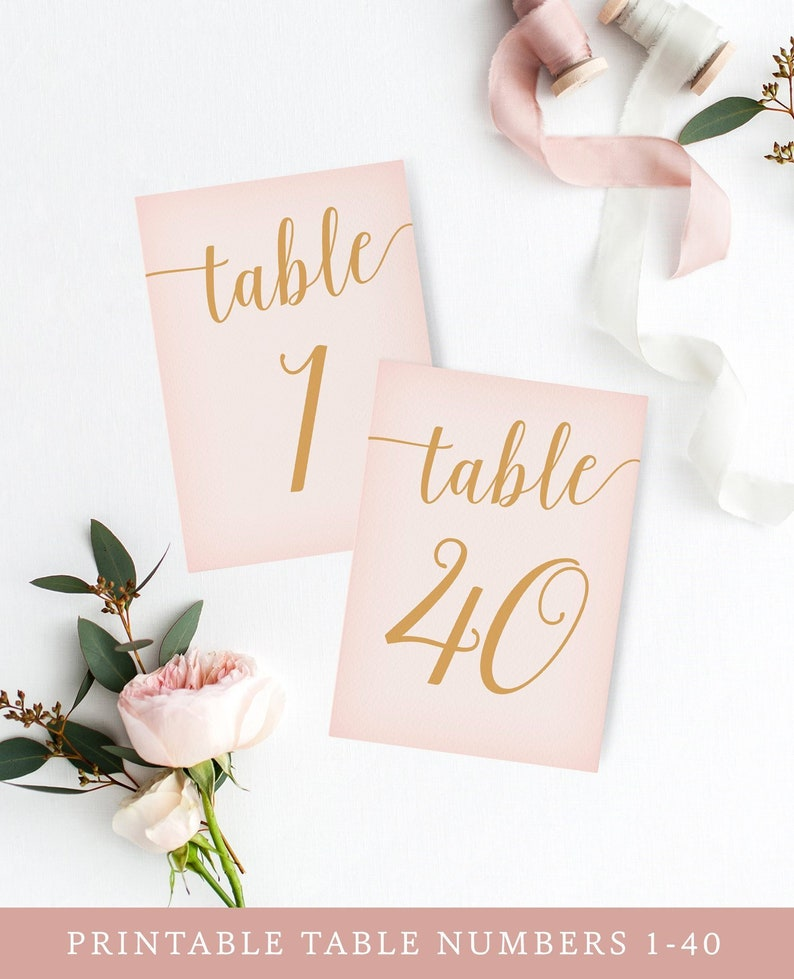 Blush Pink Table Numbers 1-40 / Blush Pink Wedding Table image 0