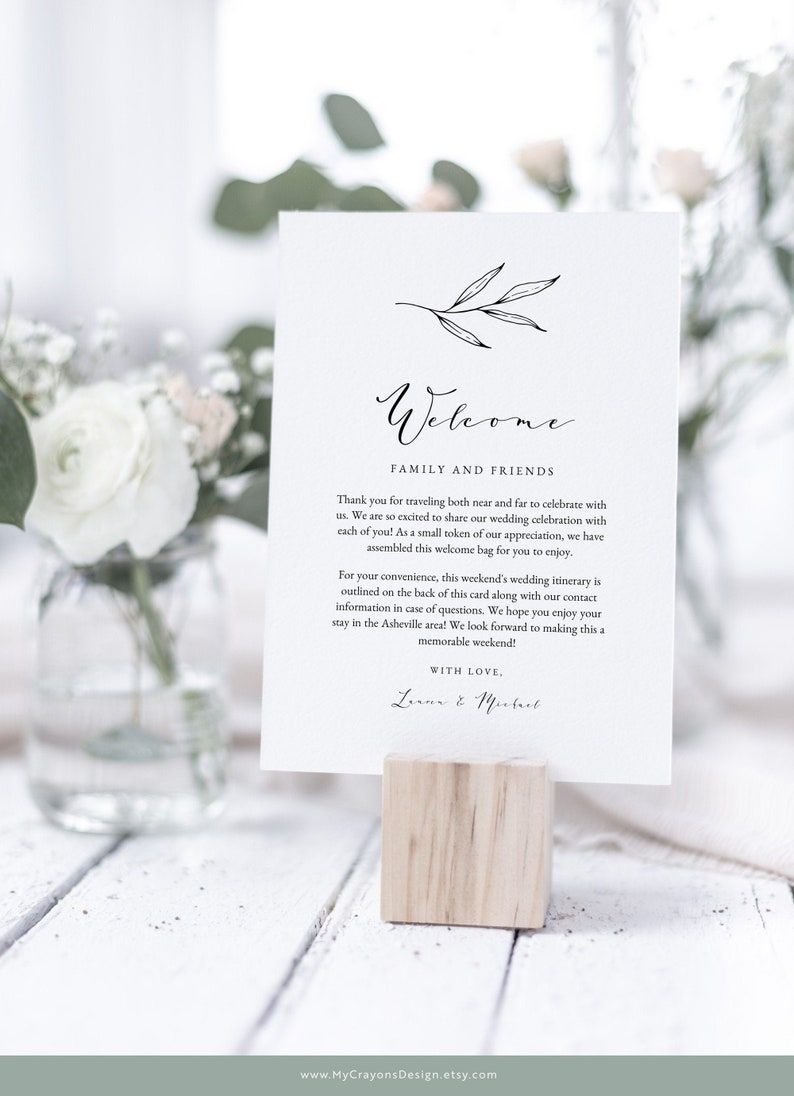 Rustic Wedding Itinerary Template Botanical Wedding Welcome image 0