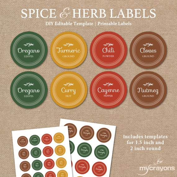 Editable Spice Jar Labels // DIY Printable Kitchen Labels // | Etsy