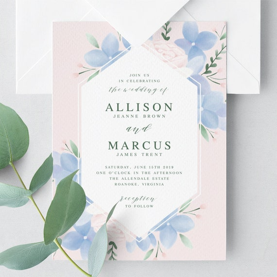 Invitation template: hydrangea flower – download & print.