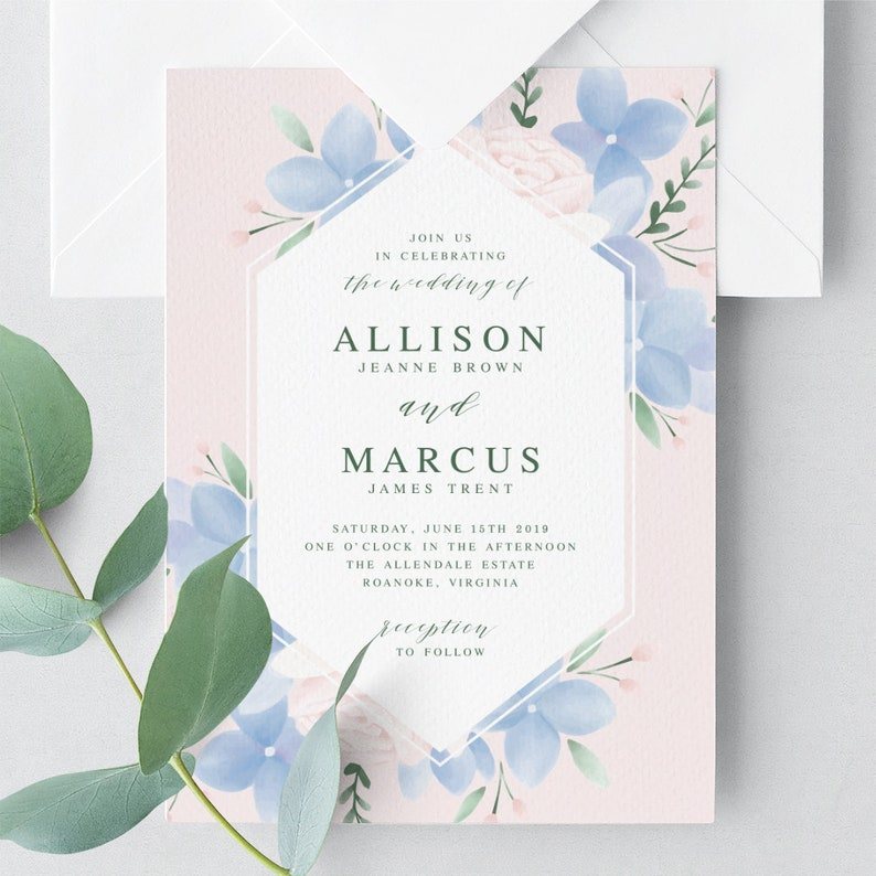 Hydrangea Wedding Invitation Template Printable Wedding image 0