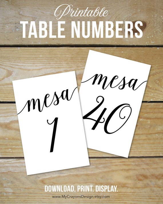image relating to Printable Table Number identify Números de Mesa 1-40, Do-it-yourself Desk Quantity Printable / Uncomplicated Wedding ceremony Desk Ecosystem Programs / Printable Desk Quantities Spanish