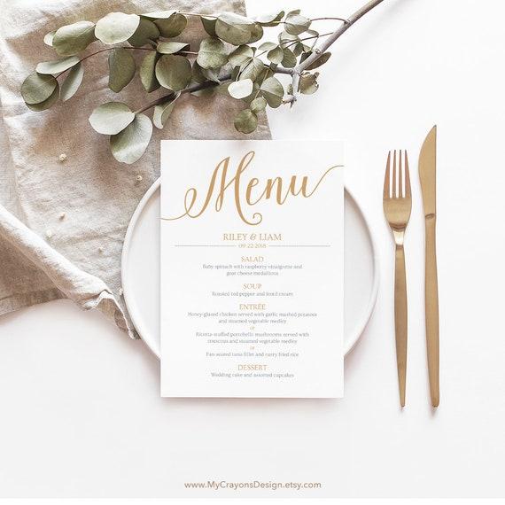 Gold Wedding Menu Cards Template Printable