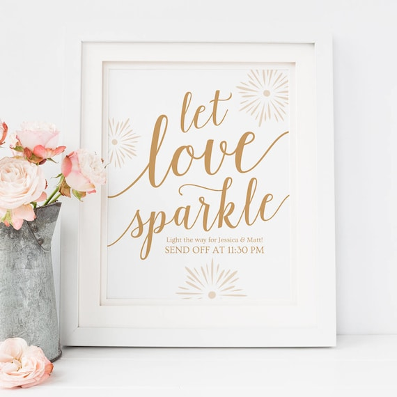 Let Love Sparkle Sign Template Gold Wedding Signs Printable Etsy