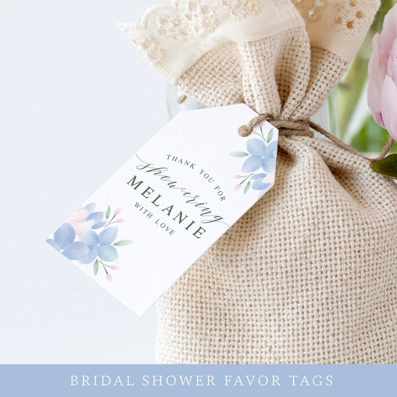 Bridal Shower Favor Tags / Floral Thank You Tag Template / image 0