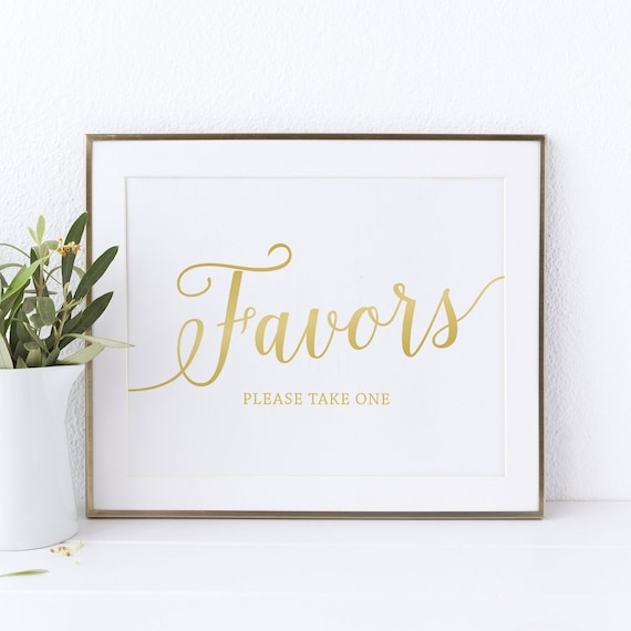 Gold Wedding Favor Sign Printable Wedding Signs Favors Sign Etsy