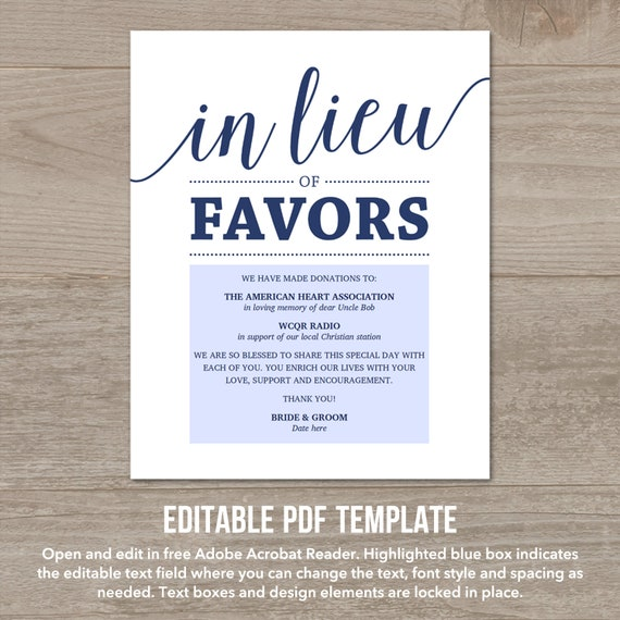 In Lieu Of Favors Sign Navy Wedding Signs Printable Donation Etsy