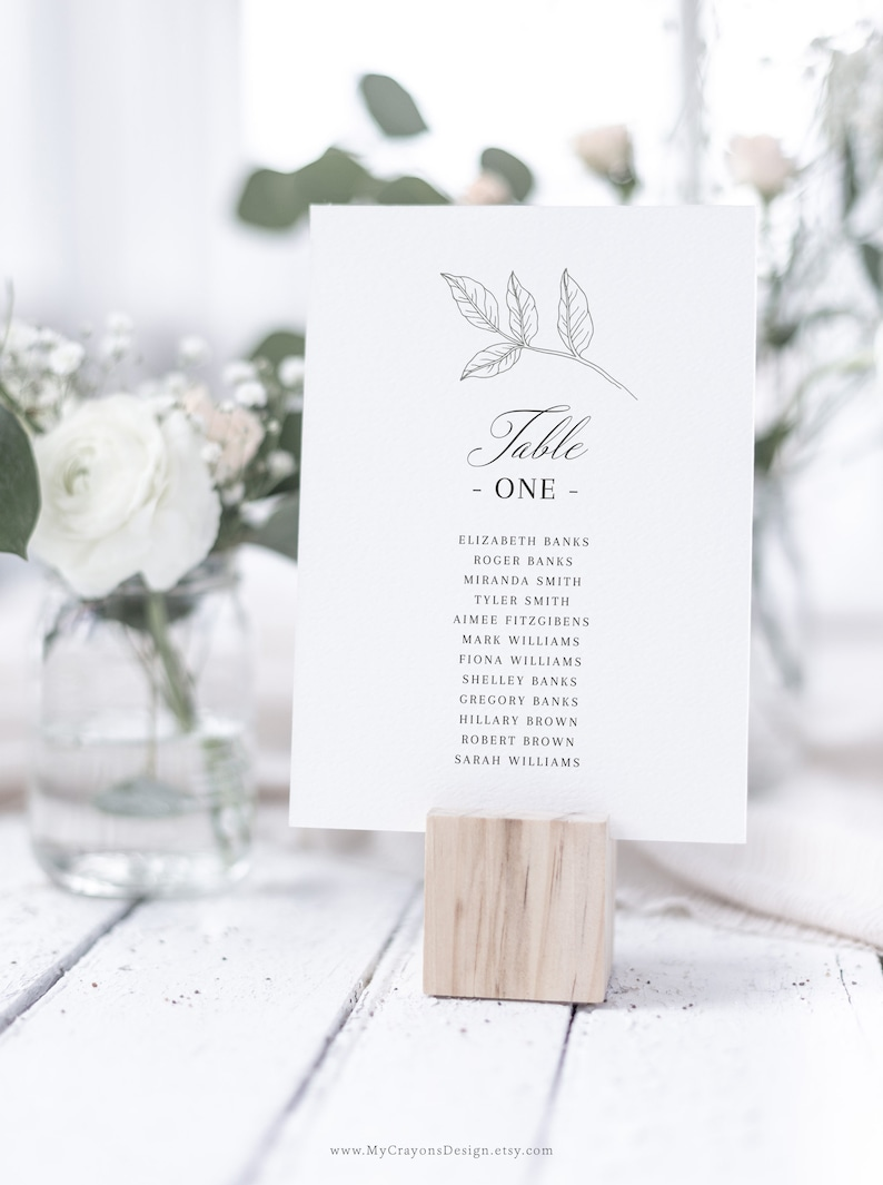 Seating Chart Cards Greenery Wedding Seating Chart Template image 0