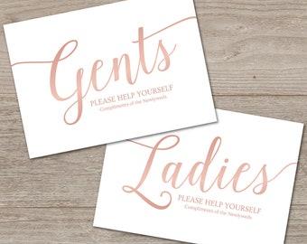 Bathroom Basket Signs Wedding Rose Gold // Rose Gold Wedding Printable // Instant Download Wedding Signs for Toiletries Basket