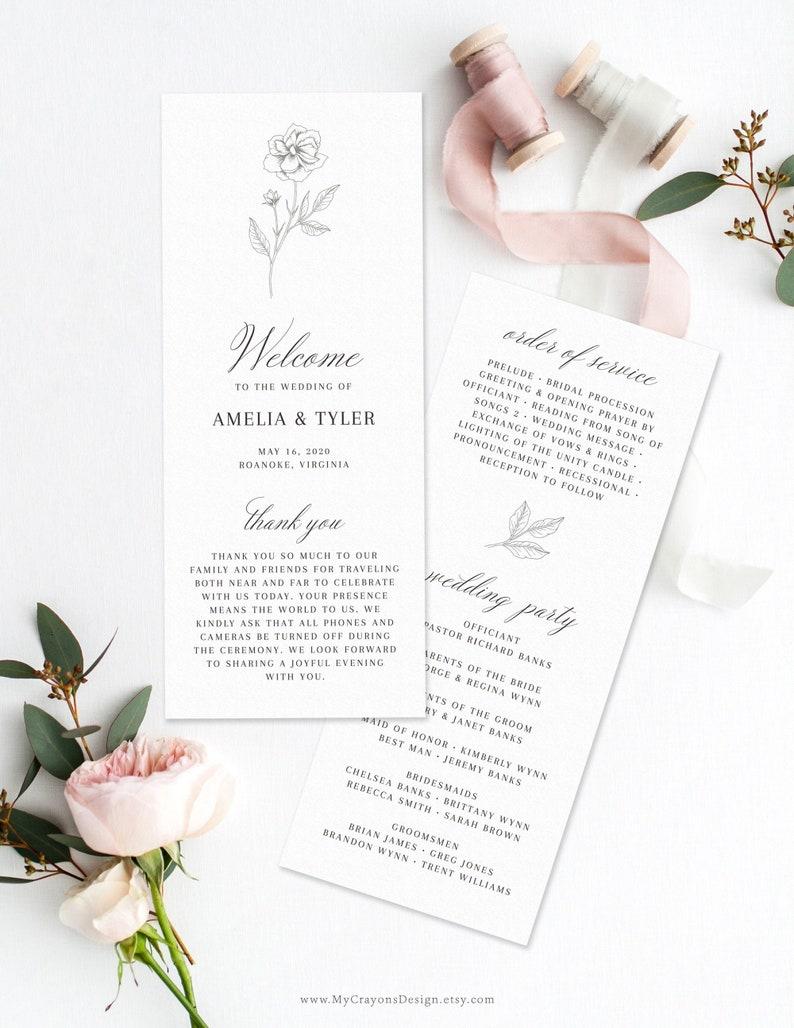 Fine Art Wedding Program Template Printable Wedding Order of image 0