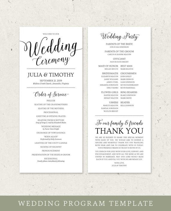 Wedding Program Template Instant Download Wedding Ceremony Programs Printable