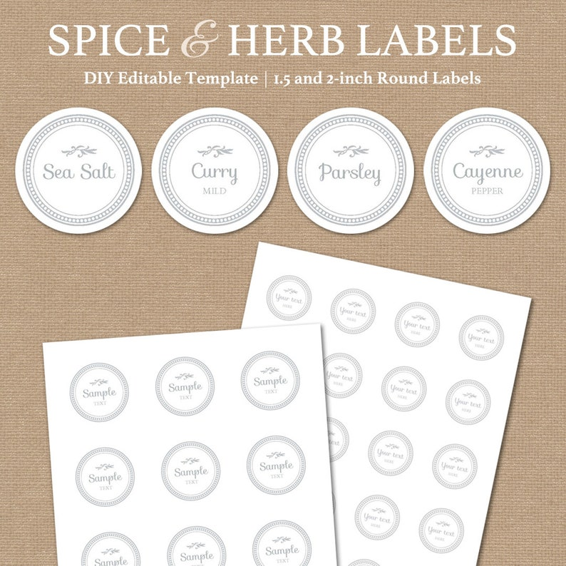 graphic about Printable Spice Jar Labels named Printable Spice Label Template // Spice Jar Labels // Printable Kitchen area Labels White // Editable Spice Label Obtain