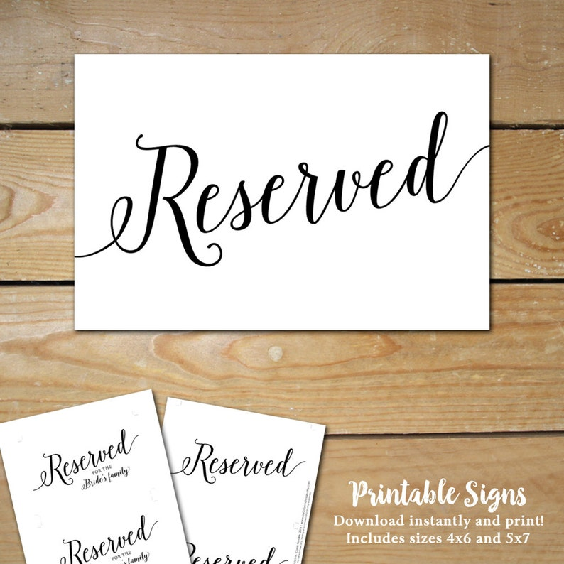 photo about Printable Reserved Signs for Wedding titled Printable Reserved Symptoms for Marriage ceremony // Marriage ceremony Reserved Desk Signal // Reserved Wedding ceremony Indication, Black and White Marriage ceremony