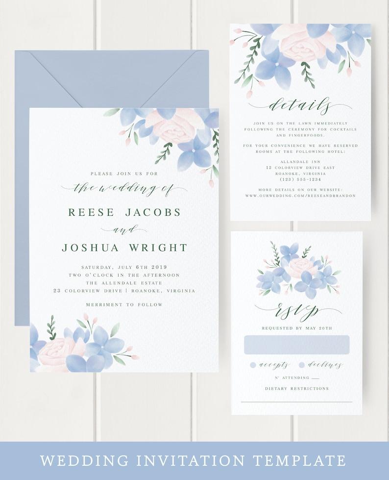 Floral Wedding Invitation Template Download Hydrangea image 0