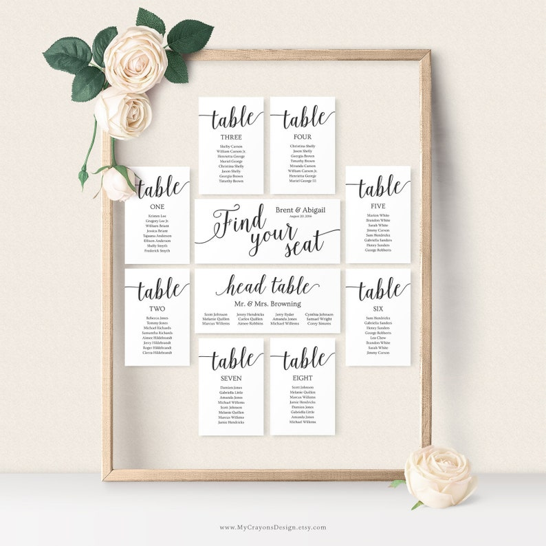 Seating Chart Wedding Template / Wedding Seating Chart Cards / image 0