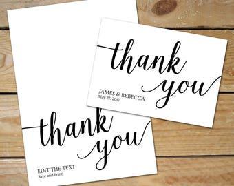 Wedding Thank You Cards Printable // Editable Thank You Template // Printable Thank You Cards, Instant Download