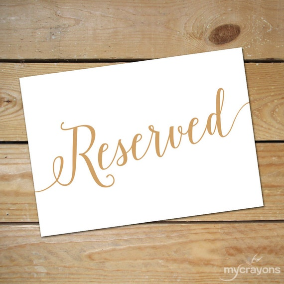 photo about Printable Reserved Table Signs titled Printable Reserved Signs and symptoms for Wedding ceremony Reserved Desk Indication / Reserved Signal Wedding day