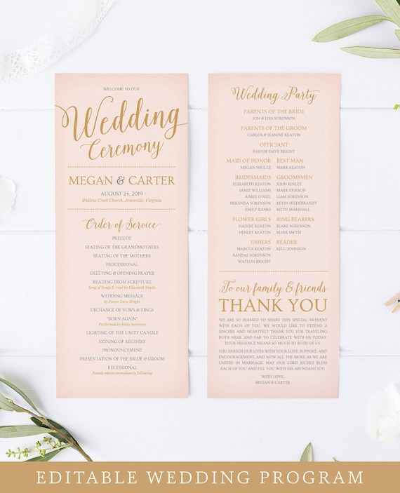 wedding program template printable wedding programs blush etsy