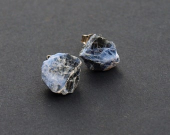 Raw Sodalite Chunk Earrings, Crystal Earrings, Rock Stud Earrings