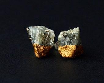 Gold & Raw Emerald Earrings, Emerald Studs