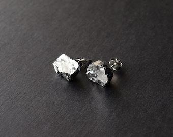 Raw Galena Chunk Earrings, Geo Earrings, Rock Stud Earrings, Crystal Earrings