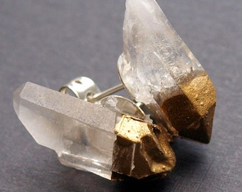 Gold & Raw Quartz Chunk Earrings, Geo Earrings, Rock Stud Earrings, Crystal Earrings