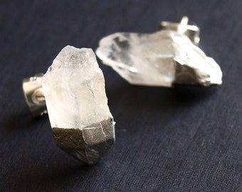Silver & Raw Quartz Chunk Earrings, Geo Earrings, Rock Stud Earrings, Crystal Earrings