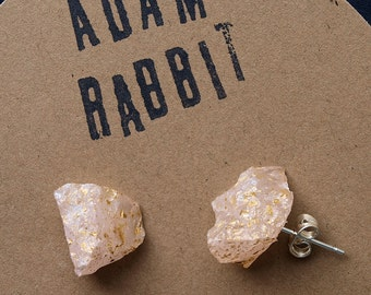 Gold Splatter & Raw Rose Quartz Chunk Earrings, Geo Earrings, Rock Stud Earrings, Crystal Earrings