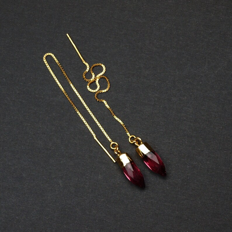 Pink Tourmaline Tiny Point Threader Earrings Pink Tourmaline Crystal Threaders