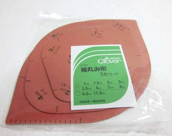 Templates for making kimono sleeves roundings  / 3 different size sheets for 1 set