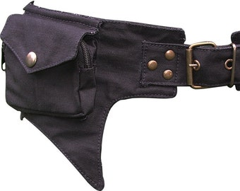 Black Cotton Bum Bag, Utility Belt, Festival Pocket Belt, Waist Bag with a hint of Batman.