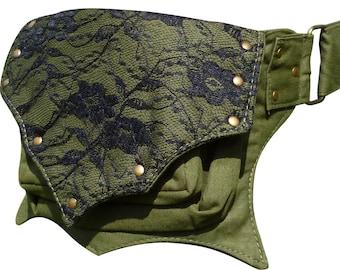 Utility Cotton Belt, Green Festival Pocket Belt, Hip Waist Bag, Ivy Leaf Style.