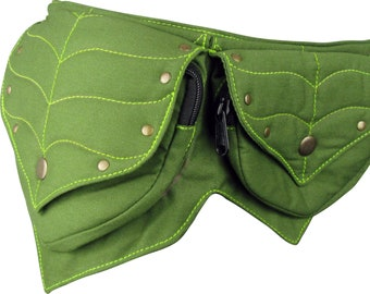 Leafy Green Festival Pocket Belt, Cotton Waist Bag, Utility Belt, Pixie Style!