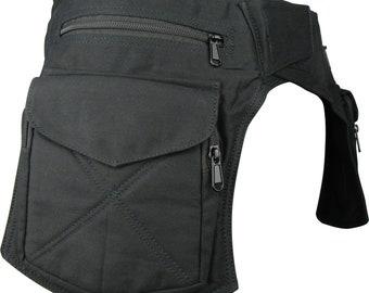 Double Pocket Utility Belt, Vegan Waist Bag, Travel Belt, Festival Trader Bum Bag