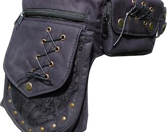 Black Steampunk Vegan Pocket Belt, Festival Waist Bag, Utility Belt with lace detail and separate phone pocket.