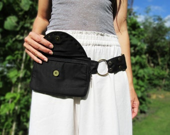 Pocket Belt, Black Utility Waist Bag suitable for Festival Heads, Traders , Dog Walkers , people without pockets